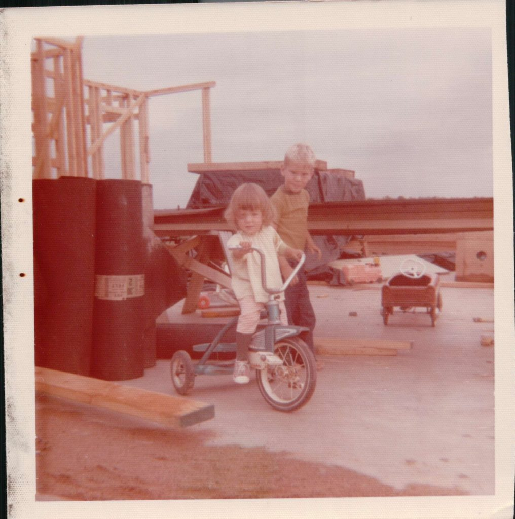Dan with his sister Kathleen on a jobsite 1974